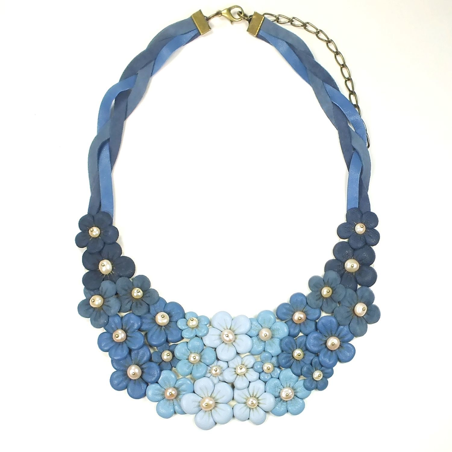 Rainbow Denim Etude. Choker of leather and pearls, Necklace, St. Petersburg,  Фото №1