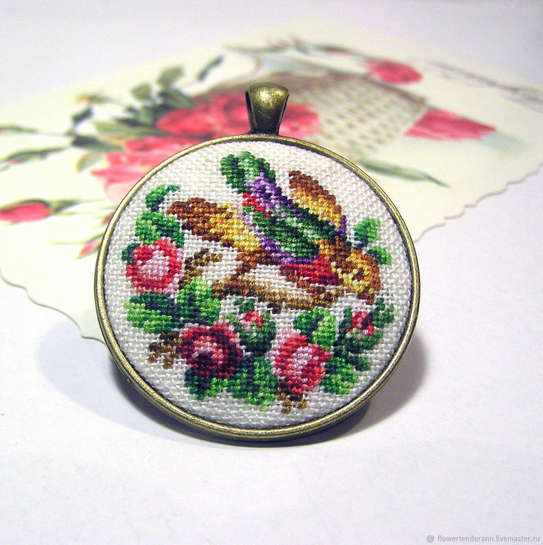 Pendant with embroidery 'Bird', Pendants, Saratov,  Фото №1