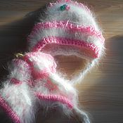 Работы для детей, ручной работы. Ярмарка Мастеров - ручная работа шапочка и пинетки из кроличьего пуха. Handmade.