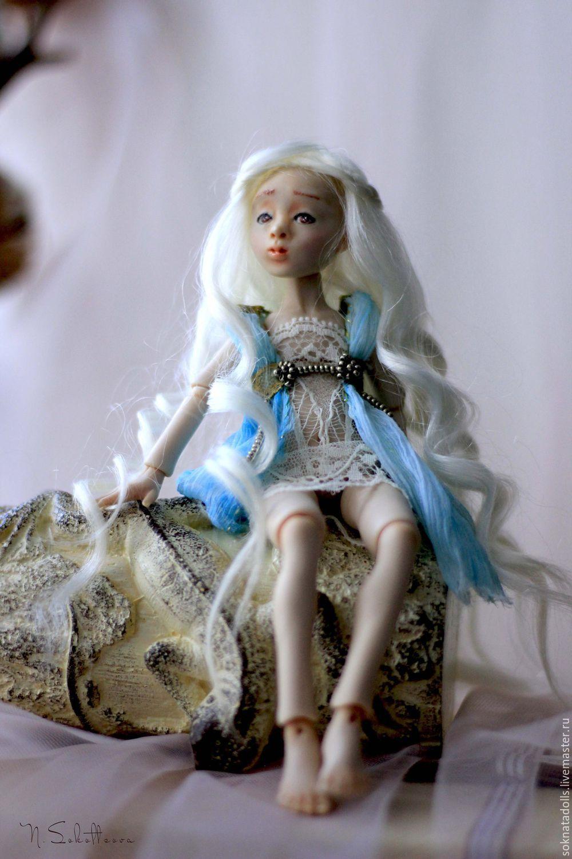 Купить Дейнерис шарнирная кукла из полимерной глины - бирюзовый, кукла из полимерной глины, кукла из запекайки