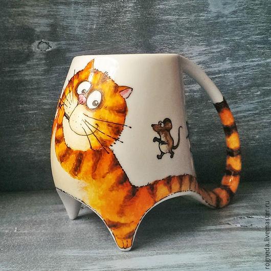 """Кружки и чашки ручной работы. Ярмарка Мастеров - ручная работа. Купить """"Гамельнский кот"""" - чашка с ножками (0746). Handmade. Рыжий"""