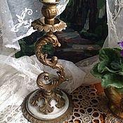 Винтажные предметы интерьера ручной работы. Ярмарка Мастеров - ручная работа Винтажный подсвечник с мрамором. Handmade.