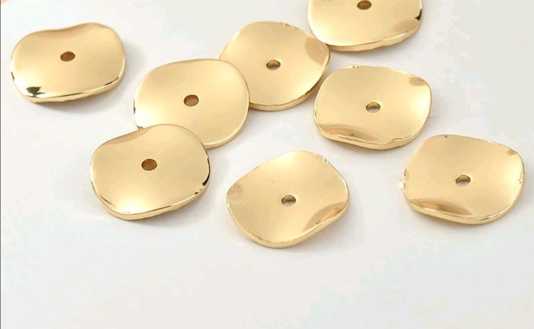 Разделитель диск 12 мм. Золотое покрытие 18 карат. Цвет: золото лайт, Фурнитура для украшений, Владивосток,  Фото №1