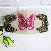 Аксессуары handmade. Livemaster - original item Face mask with embroidery pink butterfly with beads and lace. Handmade.
