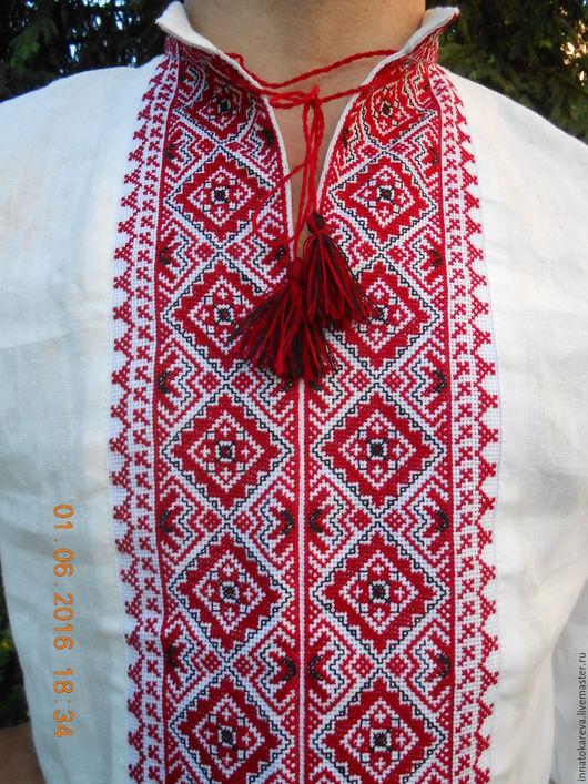 Этническая одежда ручной работы. Ярмарка Мастеров - ручная работа. Купить Вышиванка льняная славянская красно-черная. Handmade. Белый