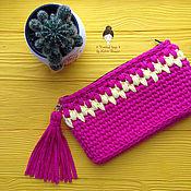 """Сумки и аксессуары handmade. Livemaster - original item Knitted clutch bag """"fuchsia and yellow"""". Handmade."""