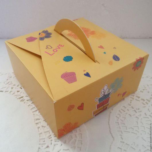 Упаковка ручной работы. Ярмарка Мастеров - ручная работа. Купить Коробочка с ручкой Сладкая 14х14х6,5см. Handmade. Коробка