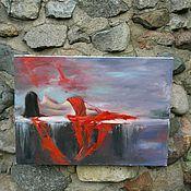 """Картины ручной работы. Ярмарка Мастеров - ручная работа Картина маслом """"Девушка в красном"""". Handmade."""