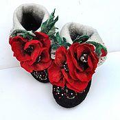 """Обувь ручной работы. Ярмарка Мастеров - ручная работа Тапочки домашние  валяные """"Мамины маки"""". Handmade."""