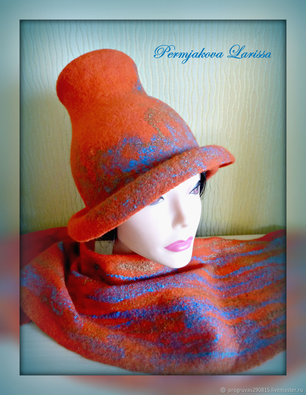 Sets of Items handmade. Livemaster - handmade. Buy Felt kit 'Stylish and light' -hat and scarf.
