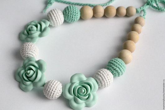 """Слинги ручной работы. Ярмарка Мастеров - ручная работа. Купить Слингобусы """"Мятные цветы"""". Handmade. Мятный, бусы для кормления, цветы"""