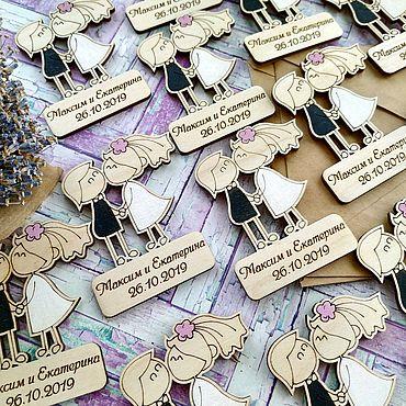 """Свадебный салон ручной работы. Ярмарка Мастеров - ручная работа Свадебные деревянные магнитики """"Пара"""". Handmade."""