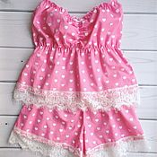 Одежда ручной работы. Ярмарка Мастеров - ручная работа Пижама Женская Розовые сердца. Handmade.
