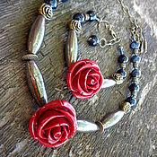 Комплект - колье и браслет Фламенко (керамика, пирит, агат, кварц)