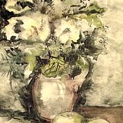 Картины и панно ручной работы. Ярмарка Мастеров - ручная работа Зелёный букет в  кувшине. Авторский принт на холсте.. Handmade.