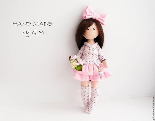 Коллекционные куклы ручной работы. Ярмарка Мастеров - ручная работа. Купить Кукла Зефирка. Handmade. Розовый, подарок для девочки, трикотаж