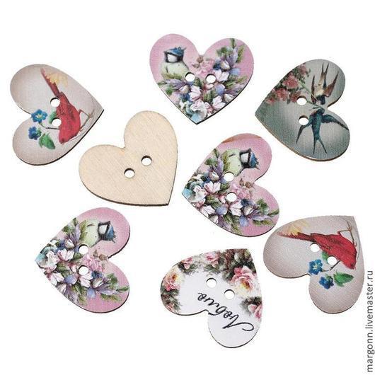Шитье ручной работы. Ярмарка Мастеров - ручная работа. Купить пуговицы сердечки/деревянные. Handmade. Пуговицы, пуговица сердечко, пуговицы для скрапбукинга