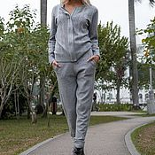 Одежда ручной работы. Ярмарка Мастеров - ручная работа Кашемировый костюм на молнии Серый. Handmade.