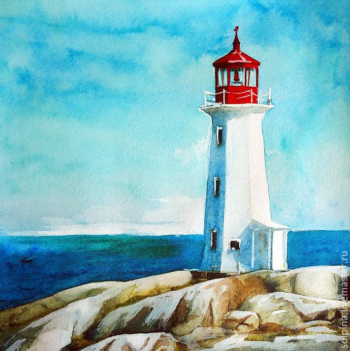 Lighthouse Watercolor заказать на Ярмарке Мастеров
