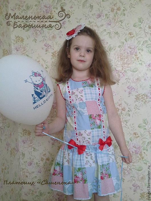 """Одежда для девочек, ручной работы. Ярмарка Мастеров - ручная работа. Купить Платье для девочки """"Сашенька""""+ украшение. Handmade. Голубой"""