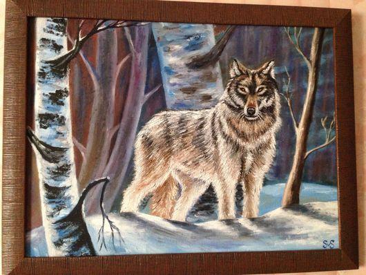 Животные ручной работы. Ярмарка Мастеров - ручная работа. Купить Весенний волк.. Handmade. Волк, весна, холст на картоне