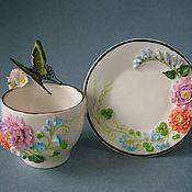 Посуда ручной работы. Ярмарка Мастеров - ручная работа Чайная пара Изумрудная красавица. Handmade.