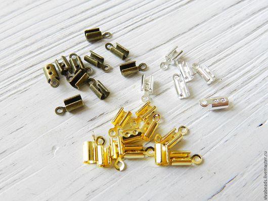 Концевик зажимной для шнура, размер 8*3 мм, подходит для шнура до 3 мм, цвета в наличии: светлое серебро, золото, бронза, материал - сплав металлов (арт. 2265)