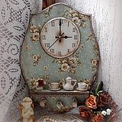 """Для дома и интерьера ручной работы. Ярмарка Мастеров - ручная работа часы с полочкой """"Винтажные"""". Handmade."""