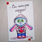 Открытки handmade. Livemaster - original item Card with a cute Bunny