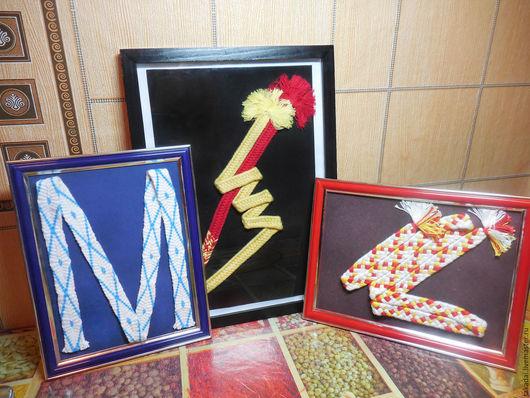 Абстракция ручной работы. Ярмарка Мастеров - ручная работа. Купить Панно с шнурами. Handmade. Комбинированный, мерсеризованный хлопок, кумихимо