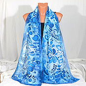 Аксессуары handmade. Livemaster - original item Silk batik scarf Gzhel. Handmade.