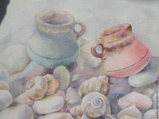 """Натюрморт ручной работы. Ярмарка Мастеров - ручная работа. Купить Картина акварелью """"Двое"""". Handmade. Кремовый, камешки, морской берег"""