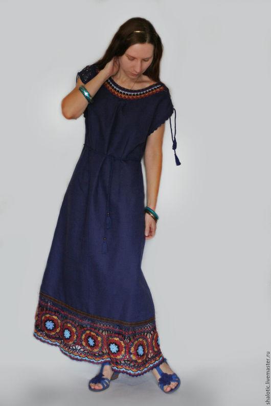 Льняное платье в этническом стиле, платье с кружевом, льняные платья и сарафаны в бохо стиле ручной работы, автор Юлия Льняная сказка
