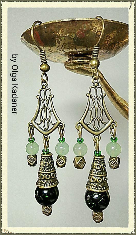 """Серьги ручной работы. Ярмарка Мастеров - ручная работа. Купить Серьги """"Night in Marrakech"""" с зелёным авантюрином. Handmade."""