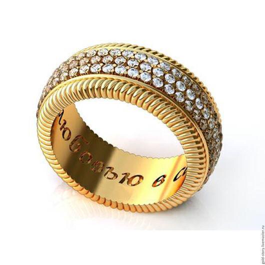 Кольца ручной работы. Ярмарка Мастеров - ручная работа. Купить Обручальное кольцо с камнями. Handmade. Золотой, кольцо золотое