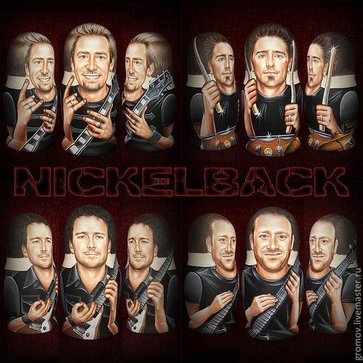 Матрешки ручной работы. Ярмарка Мастеров - ручная работа. Купить Оригинальный подарок, портретные матрёшки рок группы Nickelback. Handmade.
