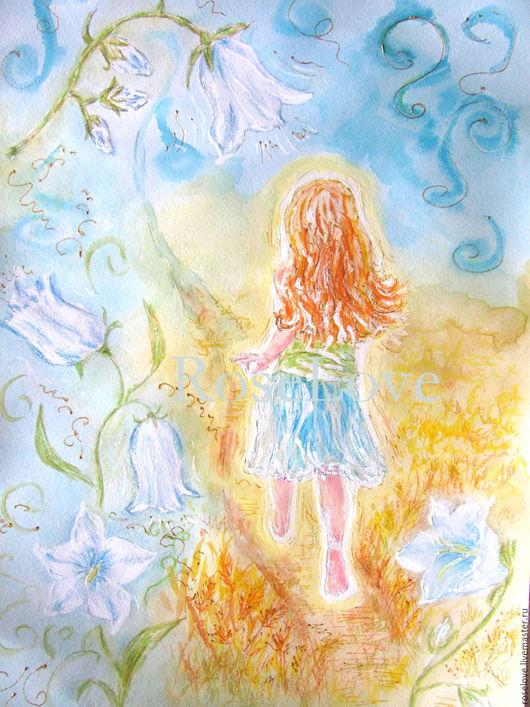 Картина `Девчушка Колокольчик!!)` Катерины Аксеновой. ___ картина с девочкой,девочка колокольчик,пейзаж,картина в детскую,картина для детской,подарок девочке _____
