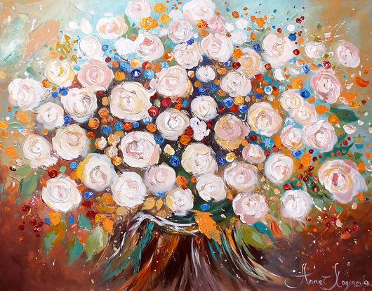 Абстракция ручной работы. Ярмарка Мастеров - ручная работа. Купить Happy flowers. Handmade. Картина на холсте, интерьерная картина