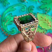handmade. Livemaster - original item Ring with gold coating, rhinestones and large cubic zirconia. RUSSIA. Handmade.