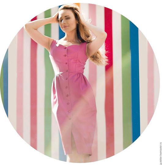 Платья ручной работы. Ярмарка Мастеров - ручная работа. Купить Розовый джинсовый сарафан на пуговицах. Handmade. Фуксия, сарафан на пуговицах