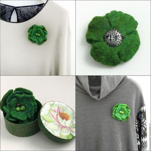 Броши ручной работы. Ярмарка Мастеров - ручная работа. Купить Брошь валяная Зеленый цветок. Готовый подарок на 8 марта для женщины. Handmade.