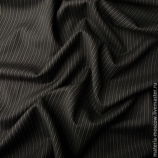 Шитье ручной работы. Ярмарка Мастеров - ручная работа. Купить Костюмная ткань в бежевую полоску (серый). Handmade. Темно-серый