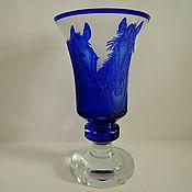 Винтаж handmade. Livemaster - original item Vase 27 smetnoi crystal sandblasting etching. Handmade.