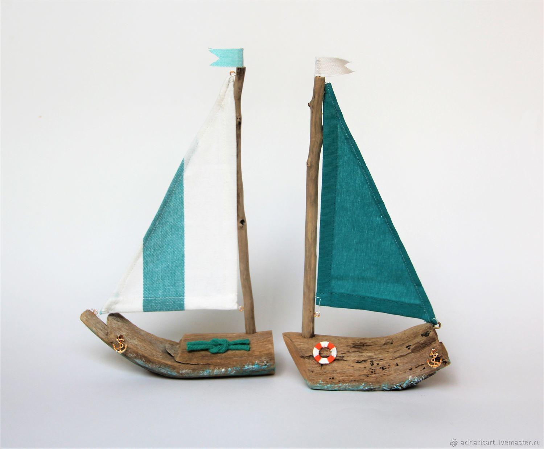 Миниатюрные модели ручной работы. Ярмарка Мастеров - ручная работа. Купить Кораблики дрифтвуд интерьерные Бирюза в паруса 28 см. Handmade.