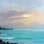 Картины и панно ручной работы. Ярмарка Мастеров - ручная работа Утро на маяке - картина маслом морской пейзаж. Handmade.