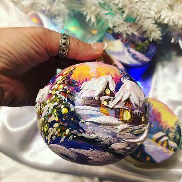 Сувениры и подарки ручной работы. Ярмарка Мастеров - ручная работа Елочный шар 100 мм. «Рождественский закат». Handmade.