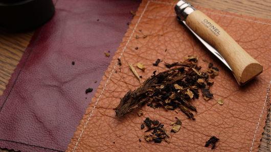 Комплекты аксессуаров ручной работы. Ярмарка Мастеров - ручная работа. Купить Кожанный мат для табака. Handmade. Оранжевый, табак