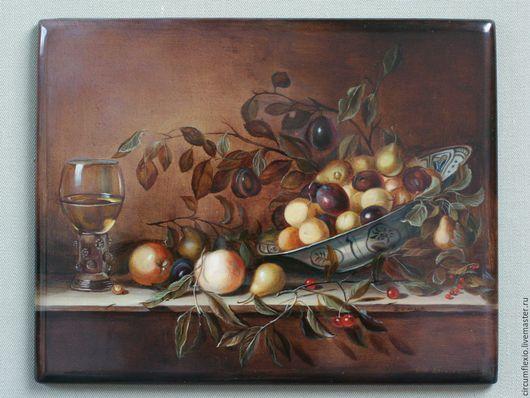 Натюрморт ручной работы. Ярмарка Мастеров - ручная работа. Купить Лаковая миниатюра Голландский натюрморт с фруктами Коричневый. Handmade.