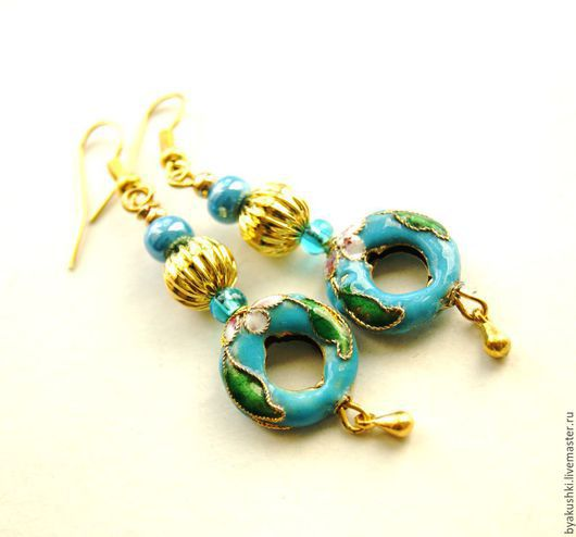 серьги `Голубая бусина клуазоне`
