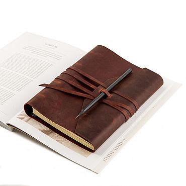 Stationery handmade. Livemaster - original item Leather notebook with strap winding genuine leather Crazy Horse. Handmade.